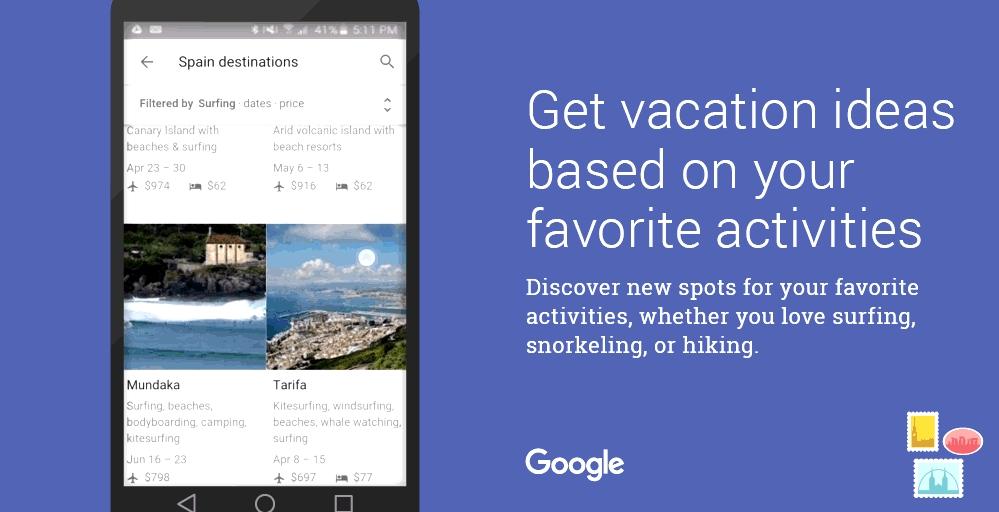 Google lanza 'Destinos' para planificar los viajes desde el móvil